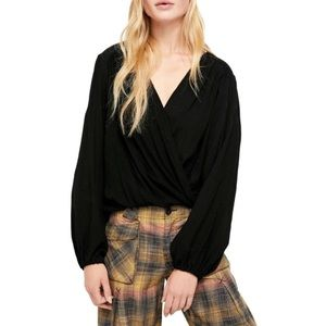 Free People Check On It Wrap Long Sleeve Blouse